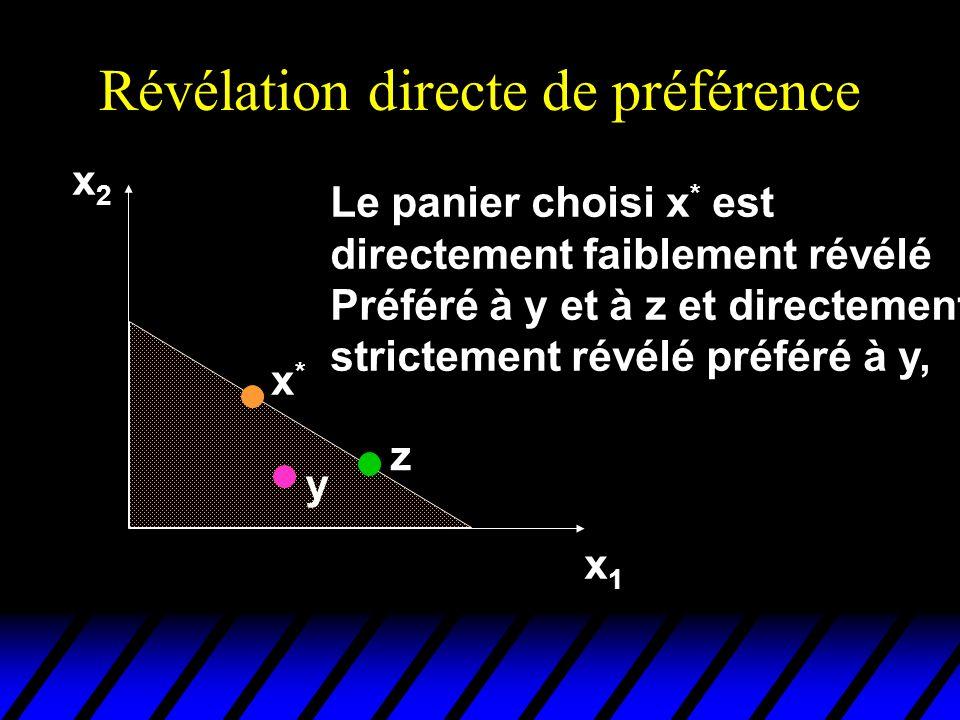 Révélation directe de préférence x2x2 x1x1 x*x* y Le panier choisi x * est directement faiblement révélé Préféré à y et à z et directement strictement révélé préféré à y, z