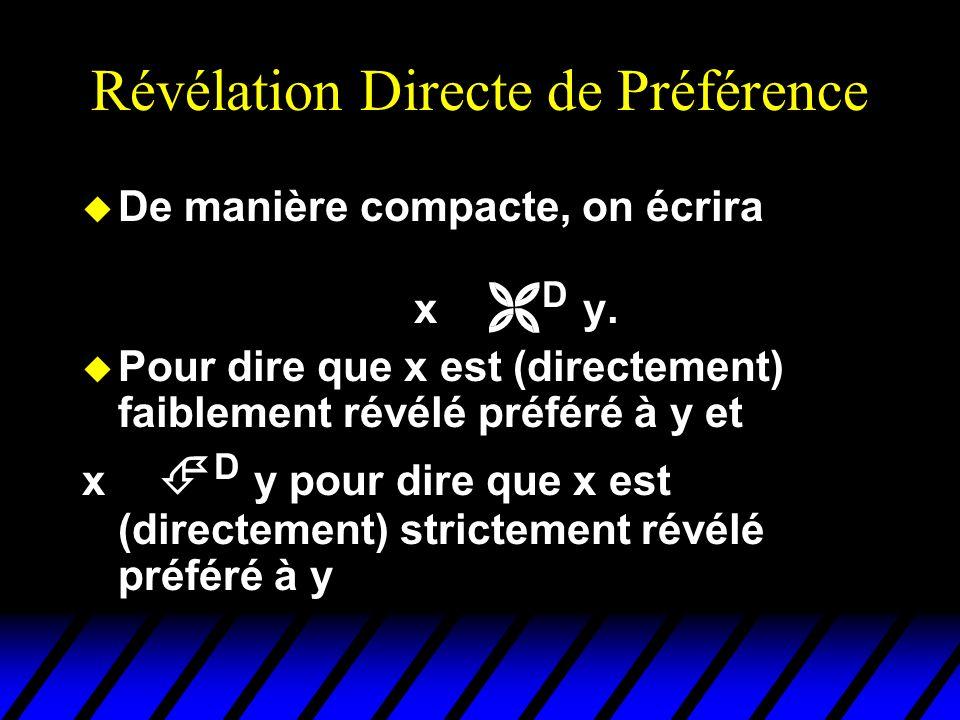 Révélation indirecte de préférences u Supposons que x soit directement révélé préféré à y, et que y soit directement révélé préféré à z (dans les deux cas, faiblement).