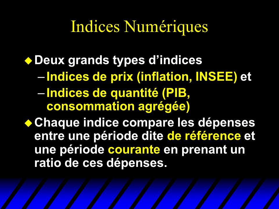 Indices Numériques u Deux grands types dindices –Indices de prix (inflation, INSEE) et –Indices de quantité (PIB, consommation agrégée) u Chaque indice compare les dépenses entre une période dite de référence et une période courante en prenant un ratio de ces dépenses.
