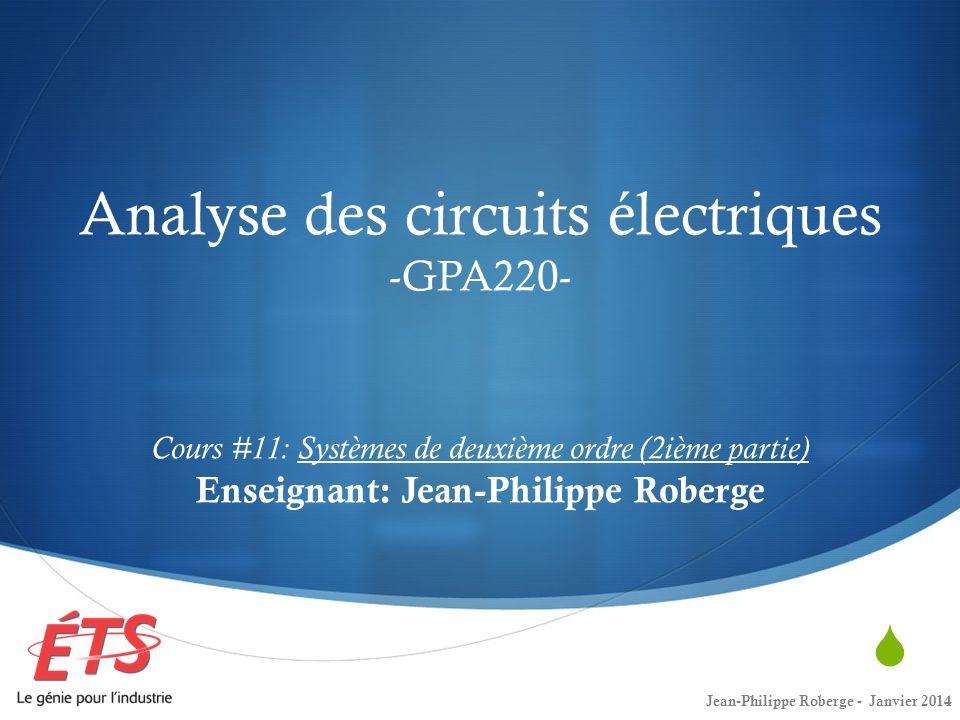 Retour sur le cours #10 (8) Petit récapitulatif… Jean-Philippe Roberge - Janvier 201412 Nous avons trouvé la tension entre les noeuds dun RLC parallèle lorsque lon déconnecte une source et que le circuit possède de lénergie.