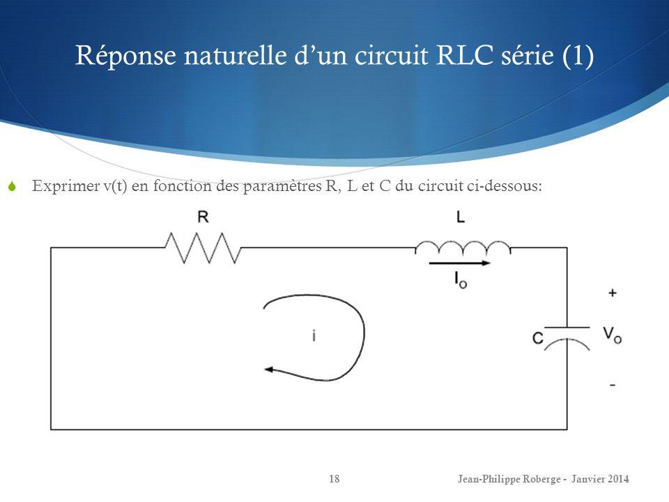 Réponse naturelle dun circuit RLC série (1) Jean-Philippe Roberge - Janvier 201418 Exprimer v(t) en fonction des paramètres R, L et C du circuit ci-de
