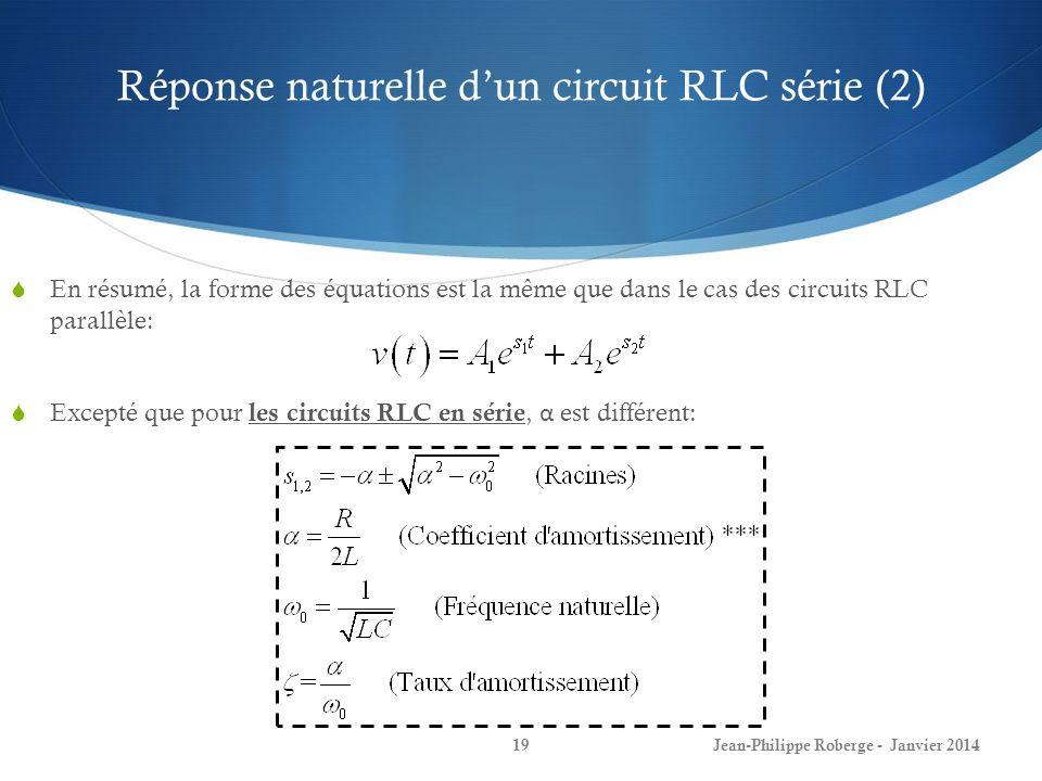 Réponse naturelle dun circuit RLC série (2) Jean-Philippe Roberge - Janvier 201419 En résumé, la forme des équations est la même que dans le cas des c