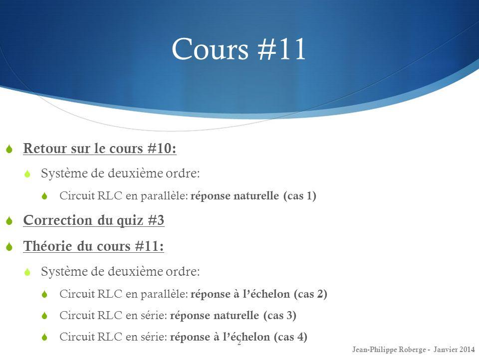 Retour sur le cours #10 (8) Petit récapitulatif… Jean-Philippe Roberge - Janvier 201413 Sommaire de lexpression de v(t) dépendamment du taux damortissement ζ : **Tiré du livre, page 299.