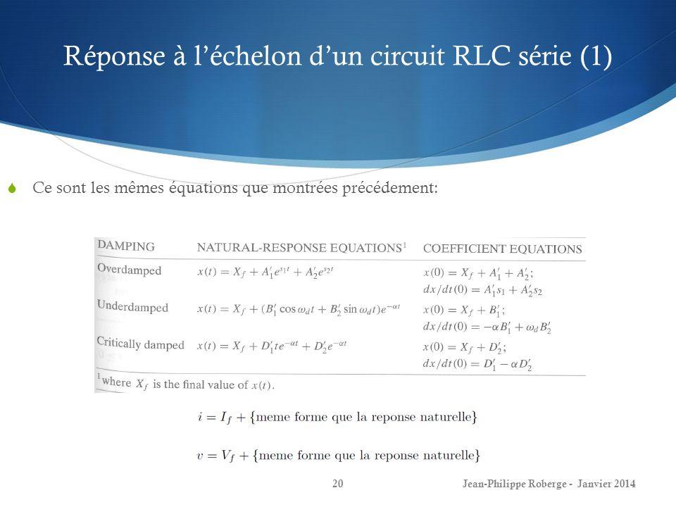 Réponse à léchelon dun circuit RLC série (1) Jean-Philippe Roberge - Janvier 201420 Ce sont les mêmes équations que montrées précédement: