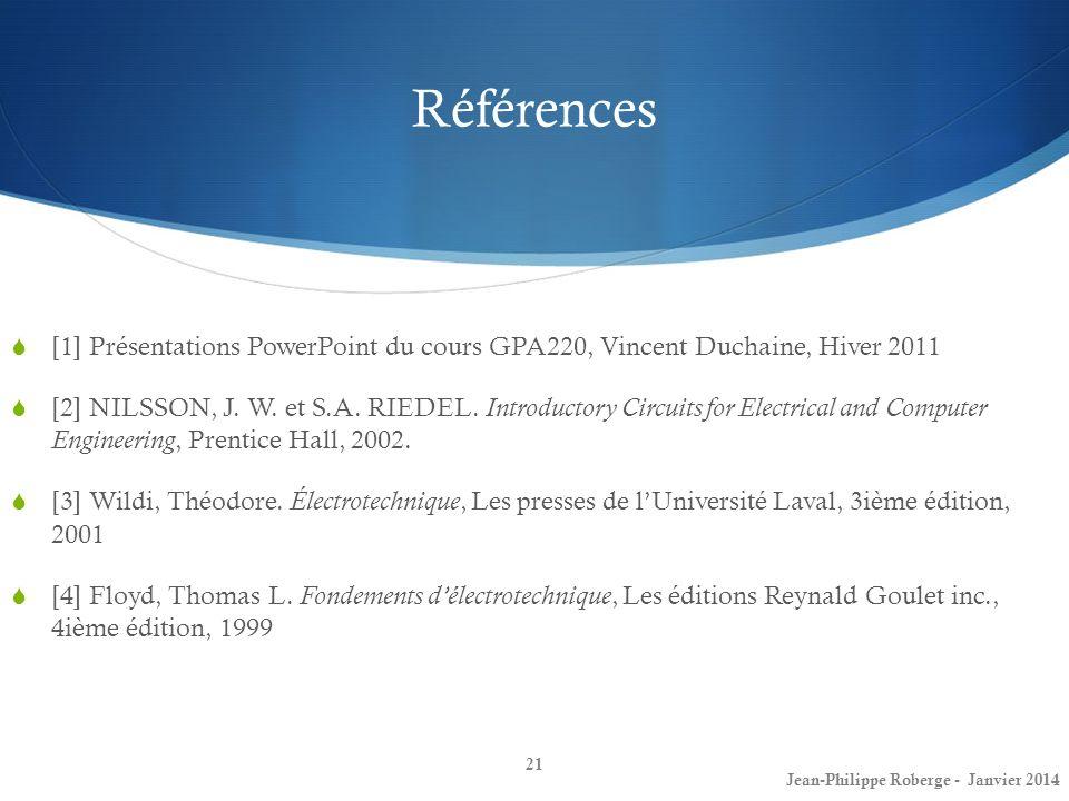 Références [1] Présentations PowerPoint du cours GPA220, Vincent Duchaine, Hiver 2011 [2] NILSSON, J. W. et S.A. RIEDEL. Introductory Circuits for Ele