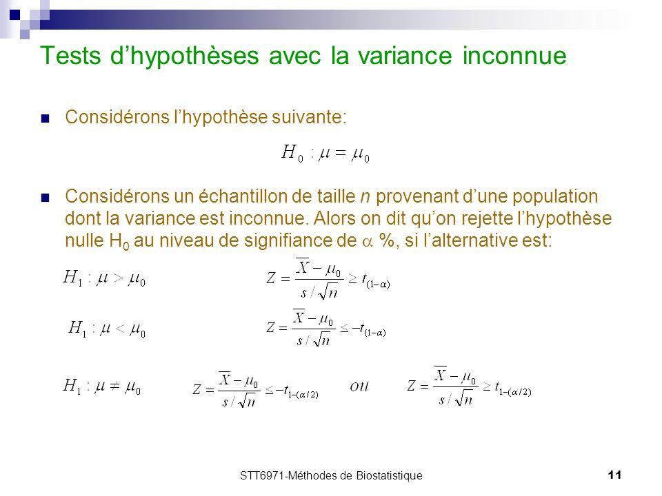 STT6971-Méthodes de Biostatistique11 Tests dhypothèses avec la variance inconnue Considérons lhypothèse suivante: Considérons un échantillon de taille n provenant dune population dont la variance est inconnue.
