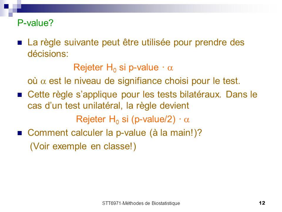 STT6971-Méthodes de Biostatistique12 P-value.