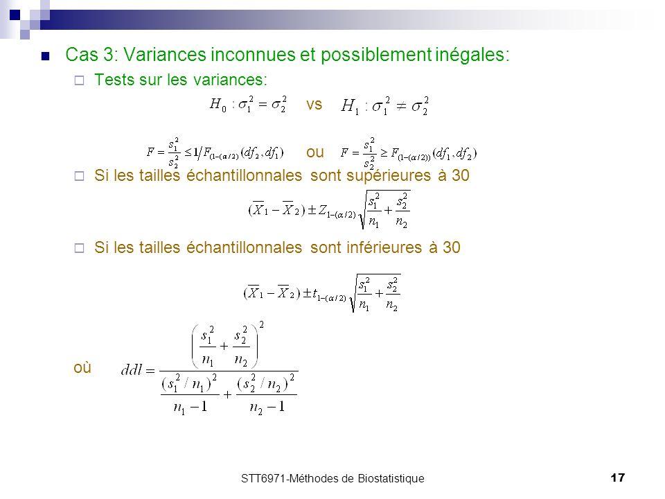 STT6971-Méthodes de Biostatistique17 Cas 3: Variances inconnues et possiblement inégales: Tests sur les variances: vs ou Si les tailles échantillonnales sont supérieures à 30 Si les tailles échantillonnales sont inférieures à 30 où
