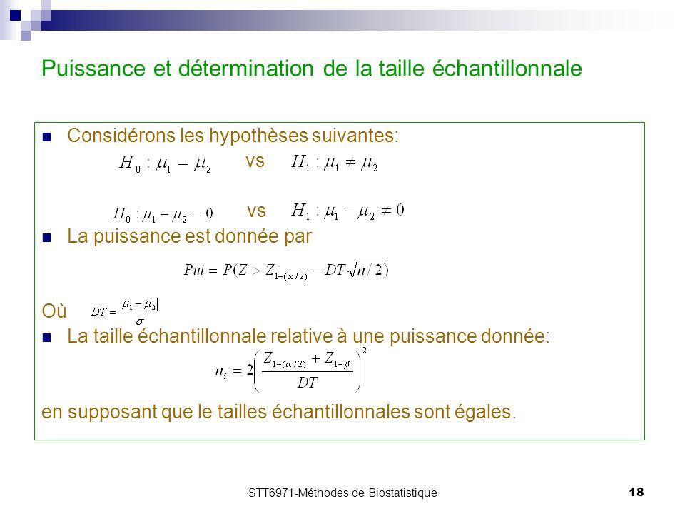 STT6971-Méthodes de Biostatistique18 Puissance et détermination de la taille échantillonnale Considérons les hypothèses suivantes: vs La puissance est donnée par Où La taille échantillonnale relative à une puissance donnée: en supposant que le tailles échantillonnales sont égales.