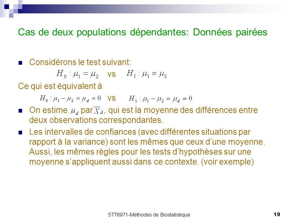 STT6971-Méthodes de Biostatistique19 Cas de deux populations dépendantes: Données pairées Considérons le test suivant: vs Ce qui est équivalent à vs On estime par, qui est la moyenne des différences entre deux observations correspondantes.