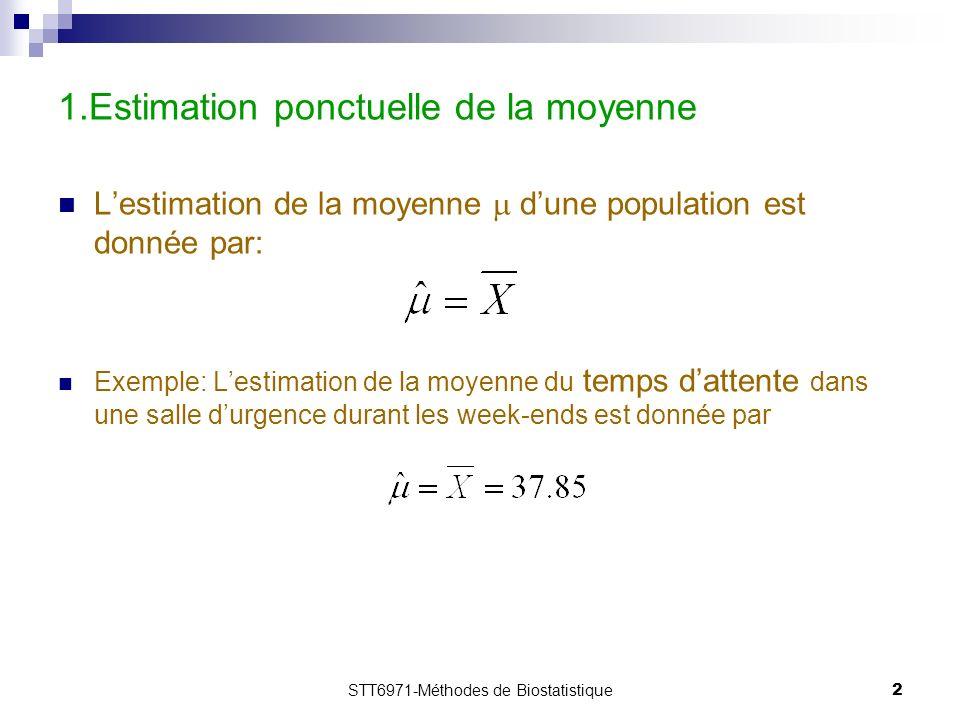 STT6971-Méthodes de Biostatistique2 1.Estimation ponctuelle de la moyenne Lestimation de la moyenne dune population est donnée par: Exemple: Lestimation de la moyenne du temps dattente dans une salle durgence durant les week-ends est donnée par