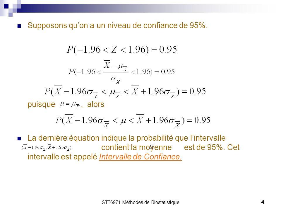 STT6971-Méthodes de Biostatistique4 Supposons quon a un niveau de confiance de 95%.