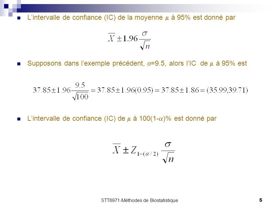 STT6971-Méthodes de Biostatistique5 Lintervalle de confiance (IC) de la moyenne à 95% est donné par Supposons dans lexemple précédent, =9.5, alors lIC de à 95% est Lintervalle de confiance (IC) de à 100(1- )% est donné par