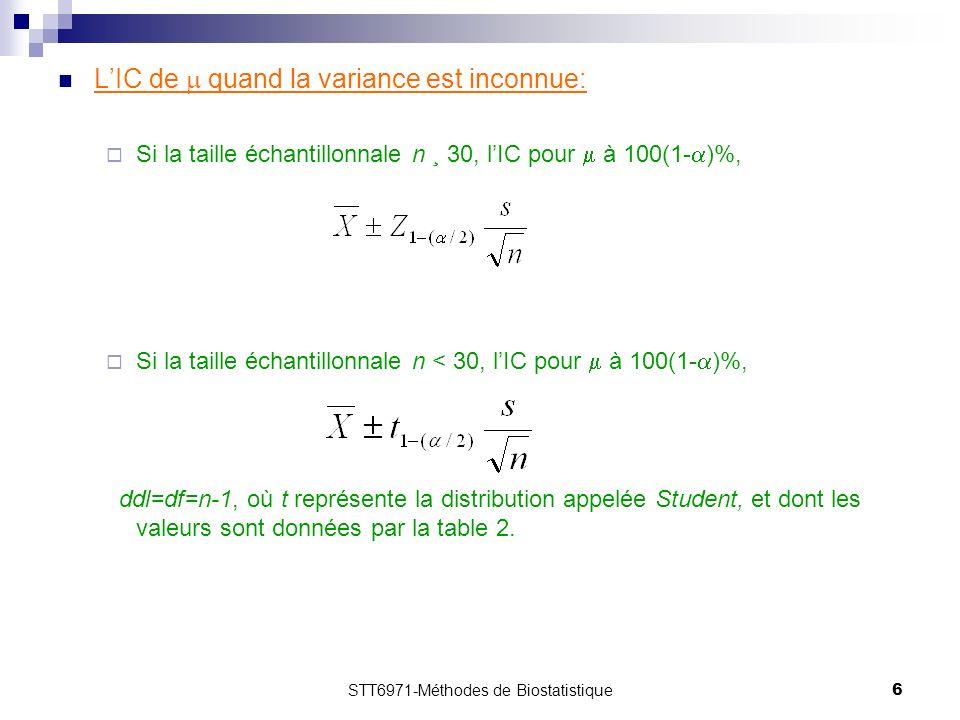 STT6971-Méthodes de Biostatistique6 LIC de quand la variance est inconnue: Si la taille échantillonnale n ¸ 30, lIC pour à 100(1- )%, Si la taille échantillonnale n < 30, lIC pour à 100(1- )%, ddl=df=n-1, où t représente la distribution appelée Student, et dont les valeurs sont données par la table 2.