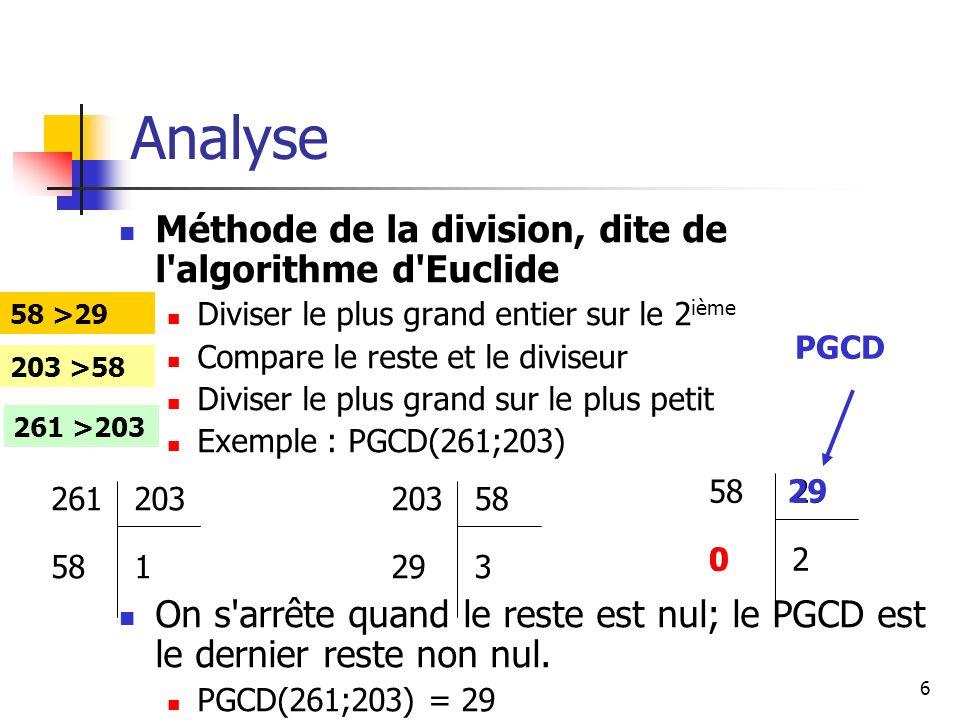 7 Lanalyse 32143214 Résultat =Ecrire(PGCD(,m,,, n, ) =pgcd) pgcd[pgcd m]= Si (m=0) alors pgcd n FIN Si m,n = [ m=Donnée (m=), n=Donnée (n=) ] Tant que (m*n <> 0) faire Si (m>n) alors m m MOD n sinon n n MOD m FIN Si Fin Tant que Fin CalculPGCD