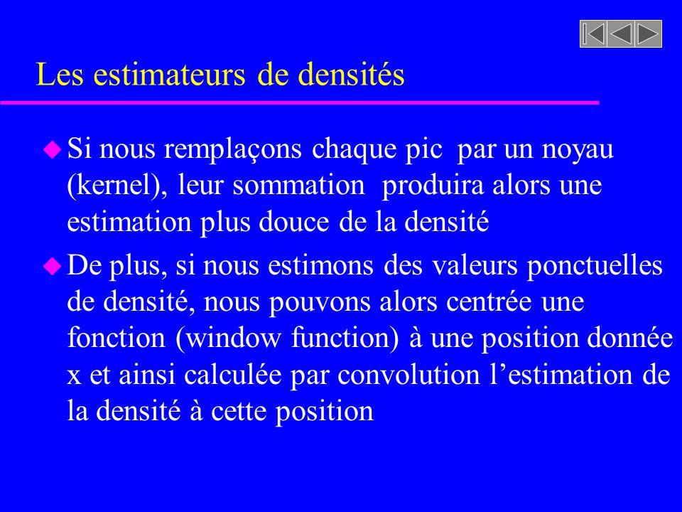Les estimateurs de densités u Si nous remplaçons chaque pic par un noyau (kernel), leur sommation produira alors une estimation plus douce de la densi