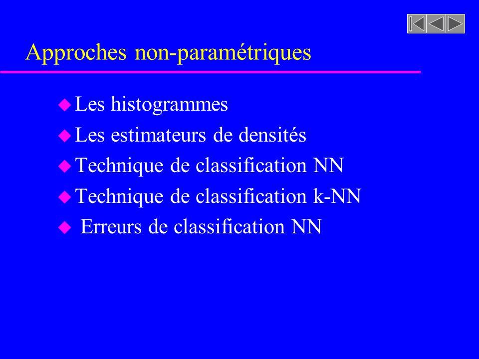 Approches non-paramétriques u Les histogrammes u Les estimateurs de densités u Technique de classification NN u Technique de classification k-NN u Erreurs de classification NN