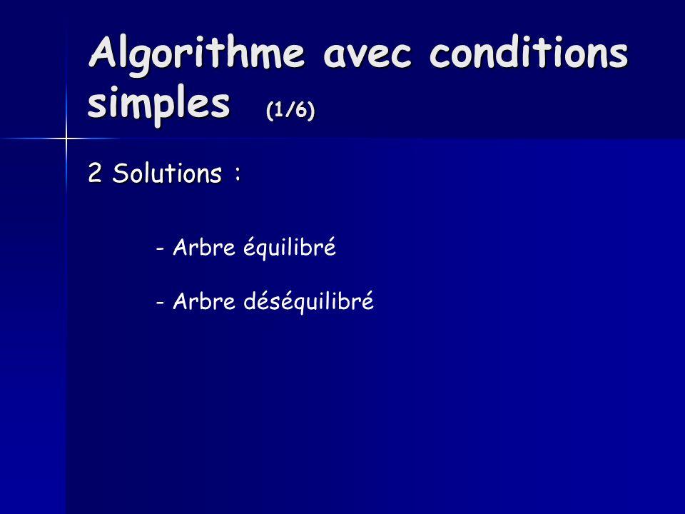 Algorithme avec conditions simples (1/6) 2 Solutions : - Arbre équilibré - Arbre déséquilibré