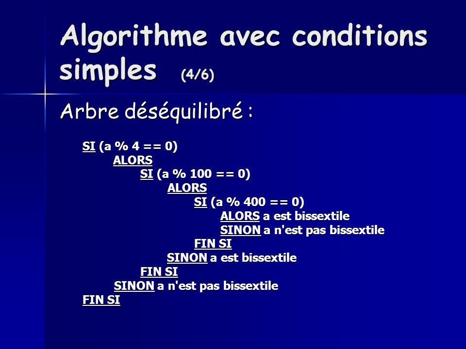 Algorithme avec conditions simples (4/6) Arbre déséquilibré : SI (a % 4 == 0) ALORS ALORS SI (a % 100 == 0) SI (a % 100 == 0) ALORS ALORS SI (a % 400 == 0) SI (a % 400 == 0) ALORS a est bissextile ALORS a est bissextile SINON a n est pas bissextile SINON a n est pas bissextile FIN SI FIN SI SINON a est bissextile SINON a est bissextile FIN SI FIN SI SINON a n est pas bissextile SINON a n est pas bissextile FIN SI