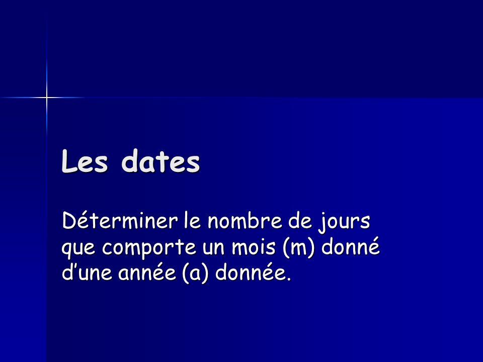 Les dates Déterminer le nombre de jours que comporte un mois (m) donné dune année (a) donnée.
