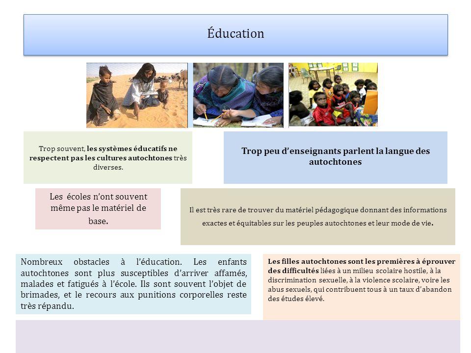 Éducation Trop souvent, les systèmes éducatifs ne respectent pas les cultures autochtones très diverses. Trop peu denseignants parlent la langue des a