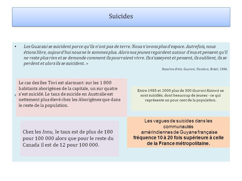 Suicides Les Guarani se suicident parce quils nont pas de terre. Nous navons plus despace. Autrefois, nous étions libre, aujourdhui nous ne le sommes