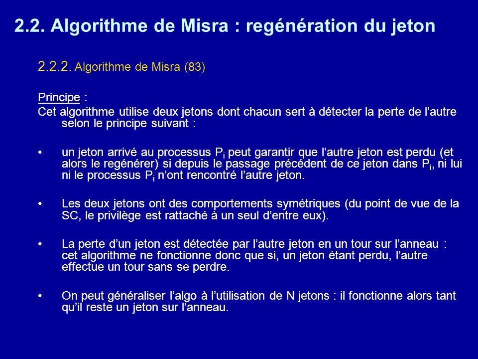 2.2. Algorithme de Misra : regénération du jeton 2.2.2. Algorithme de Misra (83) Principe : Cet algorithme utilise deux jetons dont chacun sert à déte