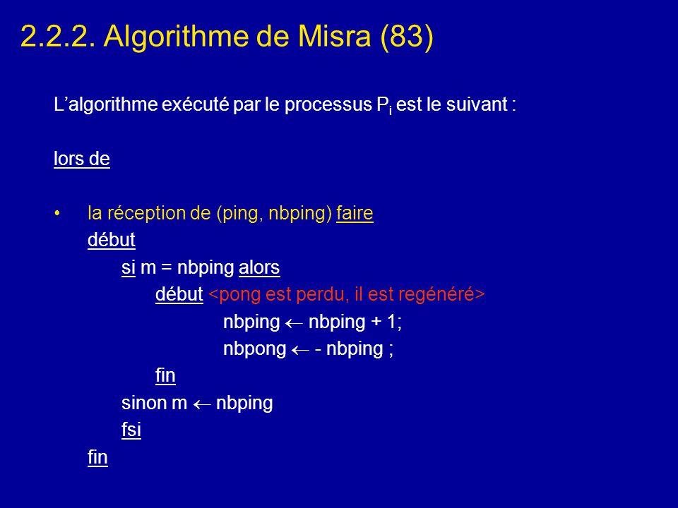 2.2.2. Algorithme de Misra (83) Lalgorithme exécuté par le processus P i est le suivant : lors de la réception de (ping, nbping) faire début si m = nb