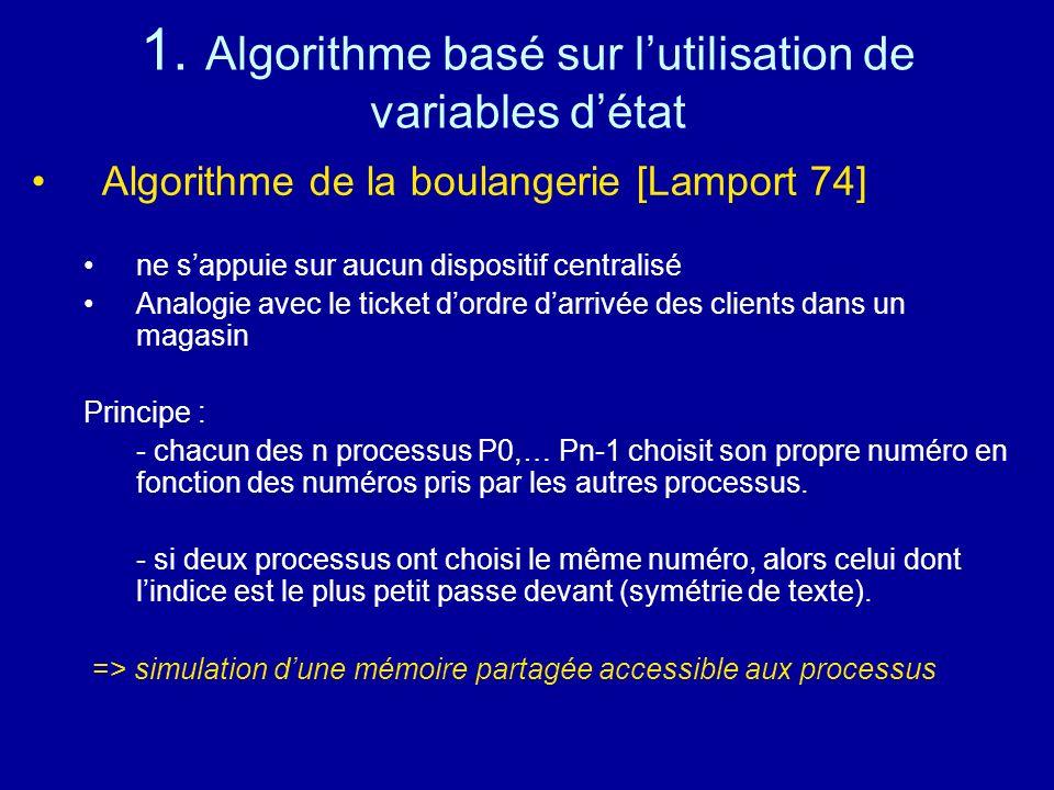 1. Algorithme basé sur lutilisation de variables détat Algorithme de la boulangerie [Lamport 74] ne sappuie sur aucun dispositif centralisé Analogie a