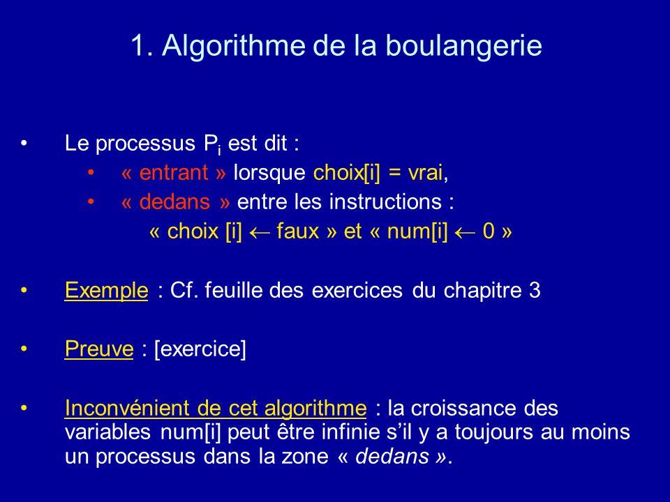 1. Algorithme de la boulangerie Le processus P i est dit : « entrant » lorsque choix[i] = vrai, « dedans » entre les instructions : « choix [i] faux »