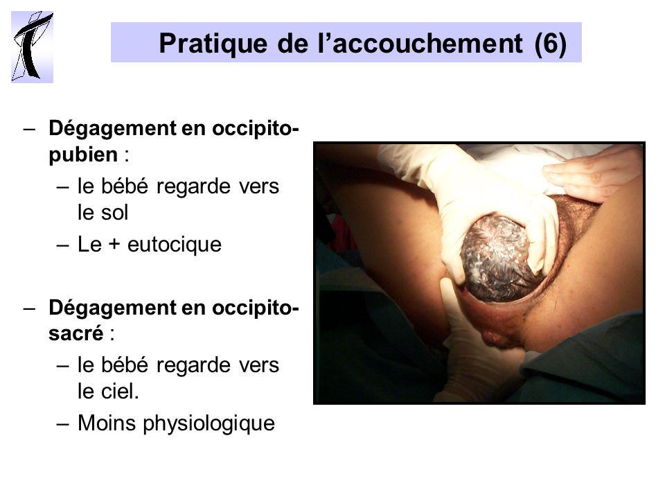 Pratique de laccouchement (6) –Dégagement en occipito- pubien : –le bébé regarde vers le sol –Le + eutocique –Dégagement en occipito- sacré : –le bébé