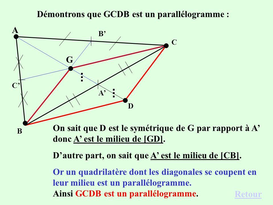 On trace le symétrique D de G par rapport à A. On peut démontrer que le quadriletère GCDB est un parallélogrammeparallélogramme. Pour les vecteurs, ce