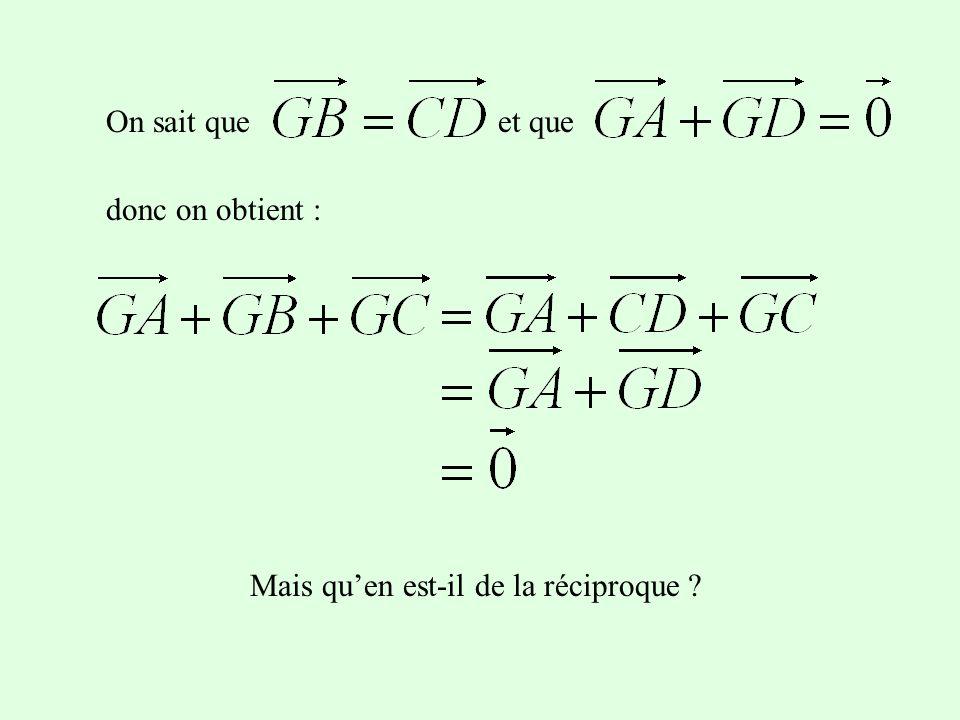 On trace le symétrique D de G par rapport à A. On peut démontrer que le quadriletère GCDB est unparallélogramme. Pour les vecteurs, cela signifie que