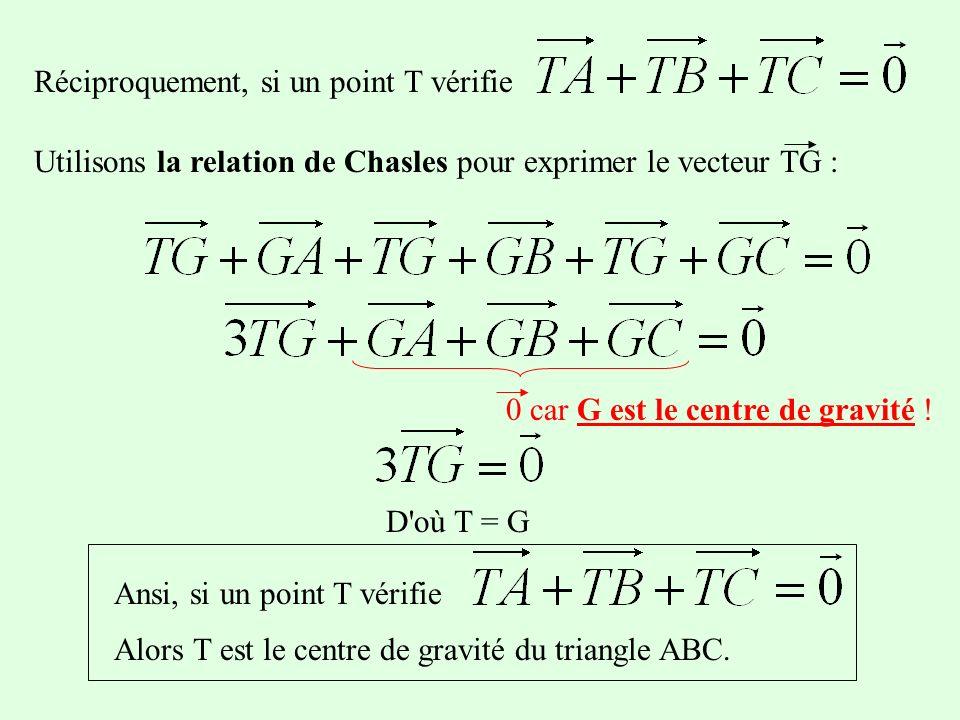 Réciproquement, si un point T vérifie Utilisons la relation de Chasles pour exprimer le vecteur TG : D où T = G 0 car G est le centre de gravité .