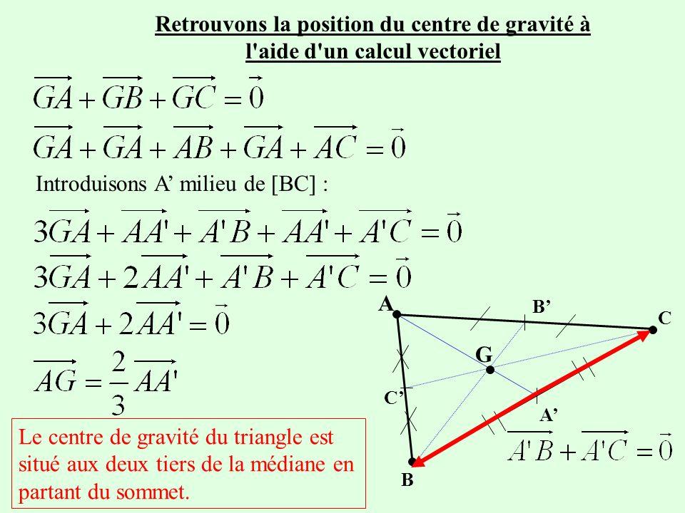 Retrouvons la position du centre de gravité à l aide d un calcul vectoriel Le centre de gravité du triangle est situé aux deux tiers de la médiane en partant du sommet.