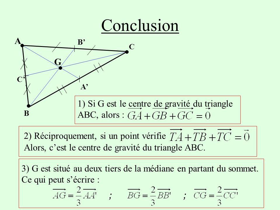 Conclusion B A C C B A G 1) Si G est le centre de gravité du triangle ABC, alors : 2) Réciproquement, si un point vérifie Alors, cest le centre de gravité du triangle ABC.