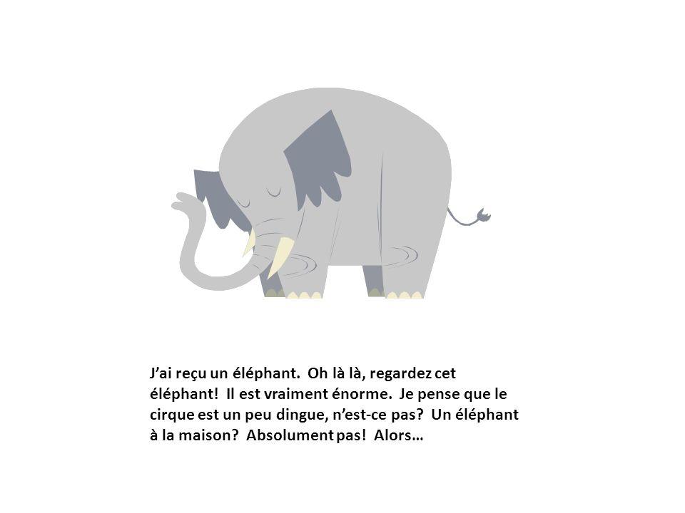 Jai reçu un éléphant. Oh là là, regardez cet éléphant! Il est vraiment énorme. Je pense que le cirque est un peu dingue, nest-ce pas? Un éléphant à la