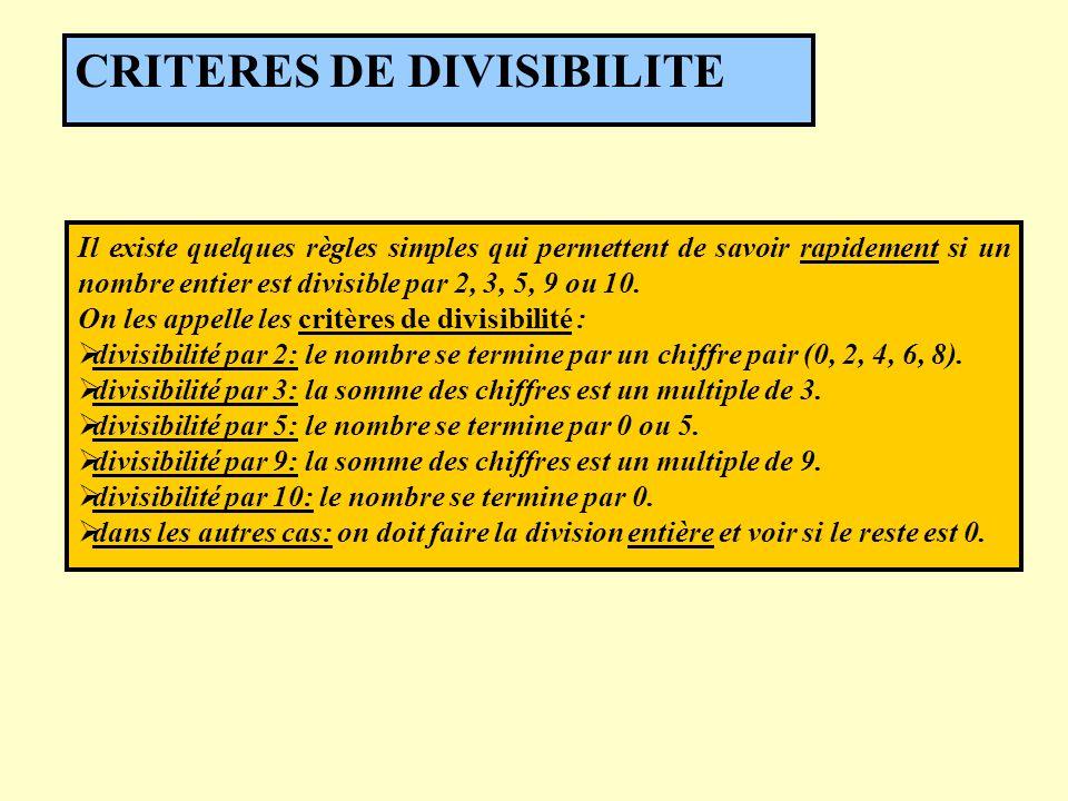 Il existe quelques règles simples qui permettent de savoir rapidement si un nombre entier est divisible par 2, 3, 5, 9 ou 10. On les appelle les critè