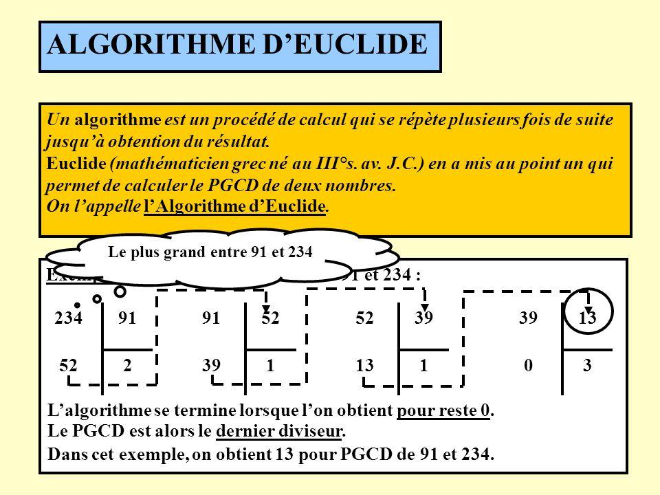Un algorithme est un procédé de calcul qui se répète plusieurs fois de suite jusquà obtention du résultat. Euclide (mathématicien grec né au III°s. av