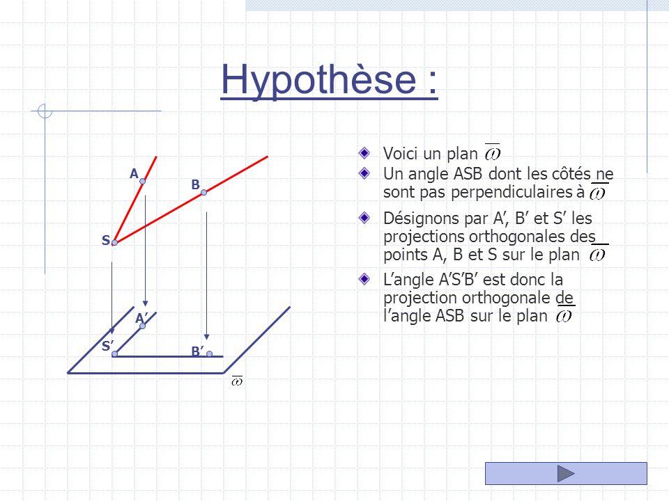 Hypothèse : Voici un plan Un angle ASB dont les côtés ne sont pas perpendiculaires à A B S A B S Désignons par A, B et S les projections orthogonales des points A, B et S sur le plan Langle ASB est donc la projection orthogonale de langle ASB sur le plan