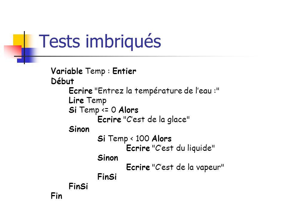 Tests imbriqués Variable Temp : Entier Début Ecrire