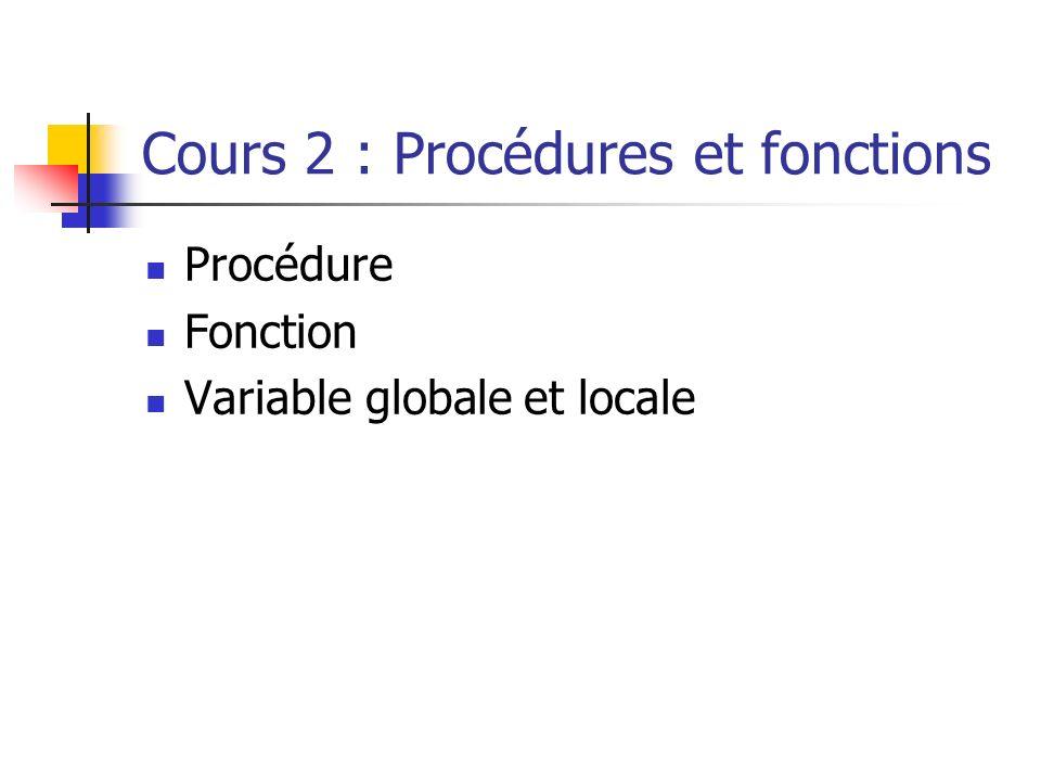 Cours 2 : Procédures et fonctions Procédure Fonction Variable globale et locale
