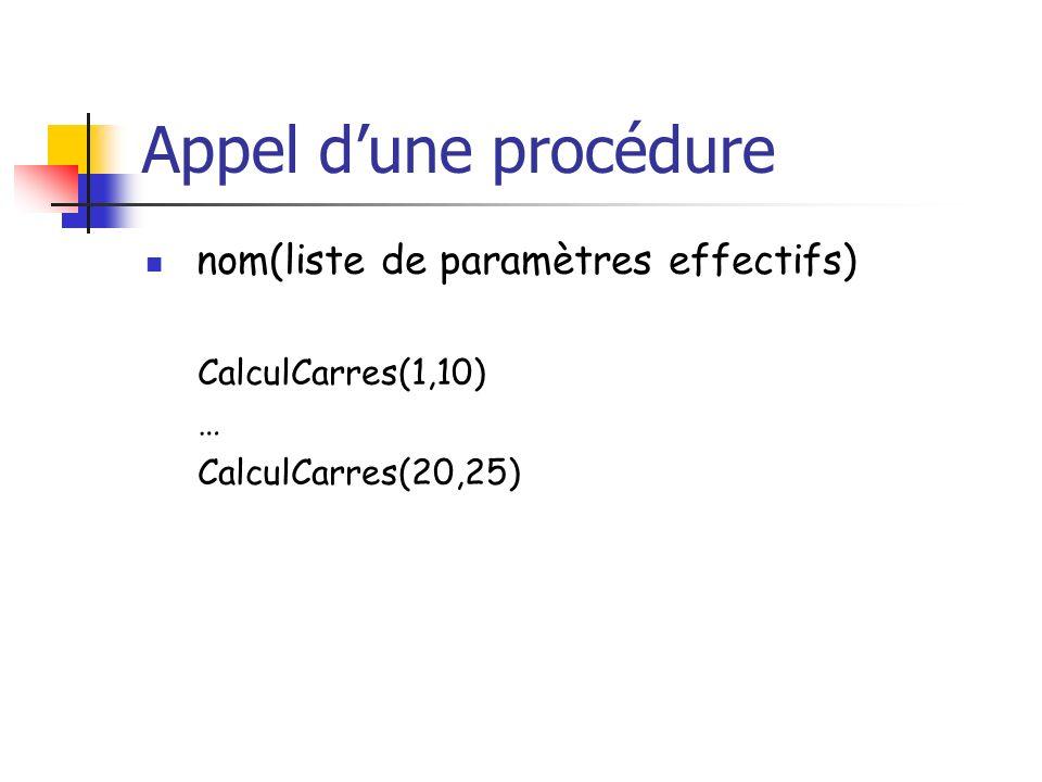 Appel dune procédure nom(liste de paramètres effectifs) CalculCarres(1,10) … CalculCarres(20,25)