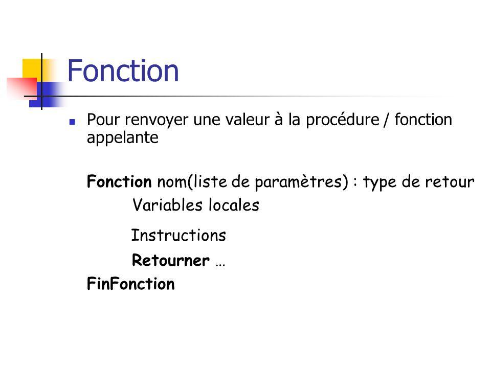 Fonction Pour renvoyer une valeur à la procédure / fonction appelante Fonction nom(liste de paramètres) : type de retour Variables locales Instruction