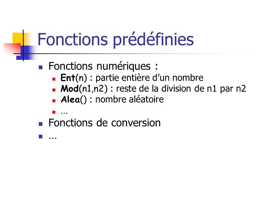Fonctions prédéfinies Fonctions numériques : Ent(n) : partie entière dun nombre Mod(n1,n2) : reste de la division de n1 par n2 Alea() : nombre aléatoi