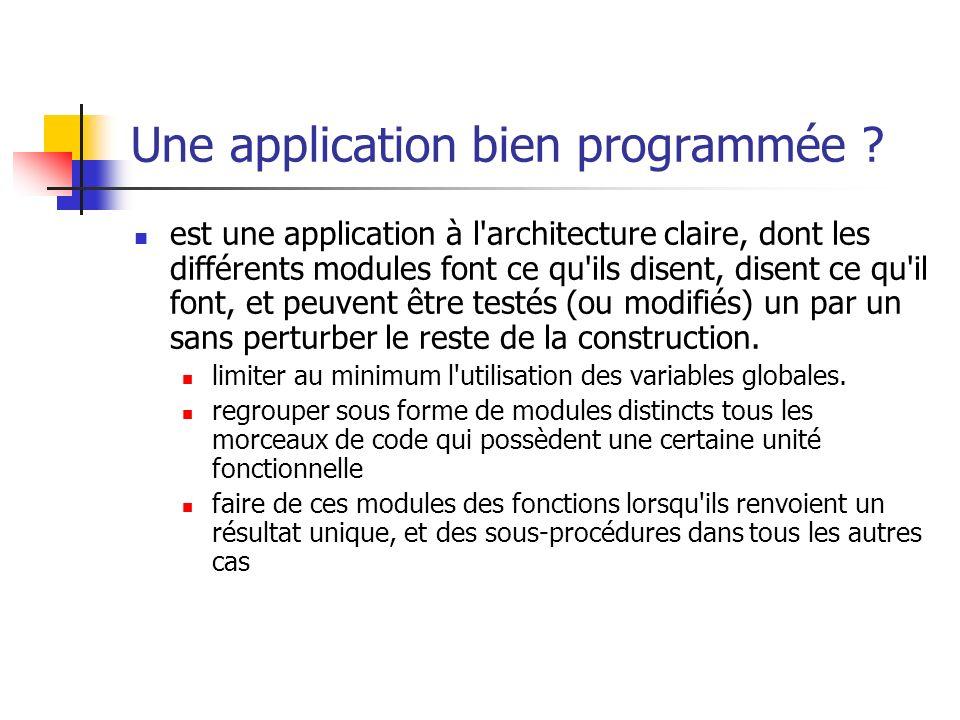 Une application bien programmée ? est une application à l'architecture claire, dont les différents modules font ce qu'ils disent, disent ce qu'il font