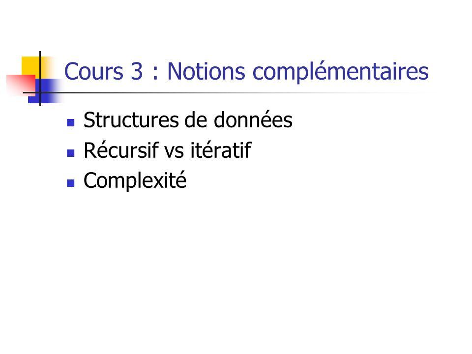 Cours 3 : Notions complémentaires Structures de données Récursif vs itératif Complexité