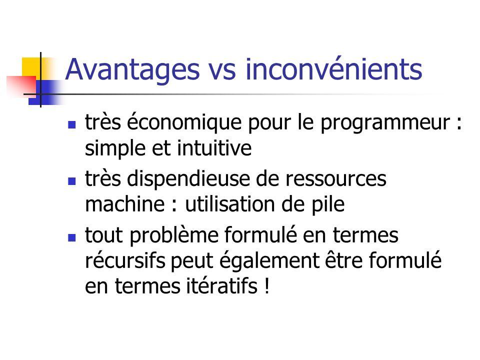 Avantages vs inconvénients très économique pour le programmeur : simple et intuitive très dispendieuse de ressources machine : utilisation de pile tou