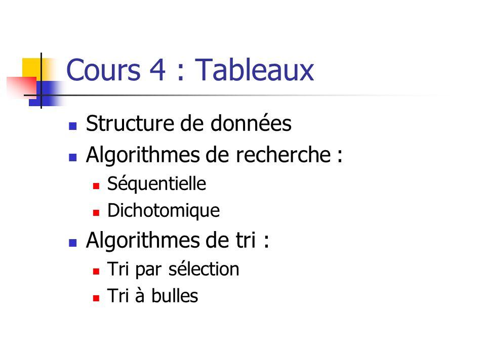 Cours 4 : Tableaux Structure de données Algorithmes de recherche : Séquentielle Dichotomique Algorithmes de tri : Tri par sélection Tri à bulles