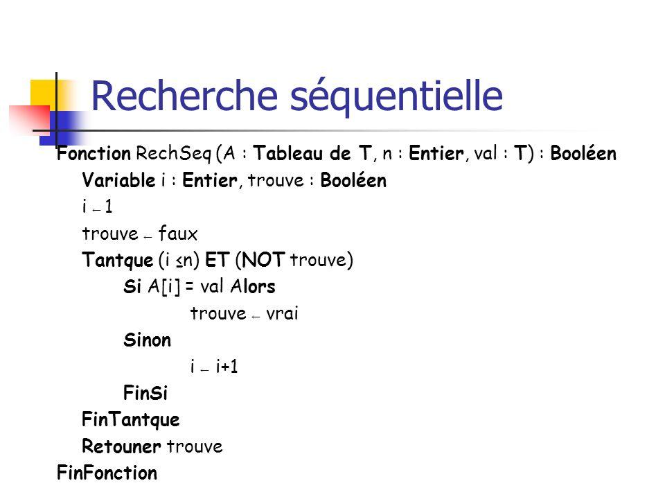 Recherche séquentielle Fonction RechSeq (A : Tableau de T, n : Entier, val : T) : Booléen Variable i : Entier, trouve : Booléen i 1 trouve faux Tantqu